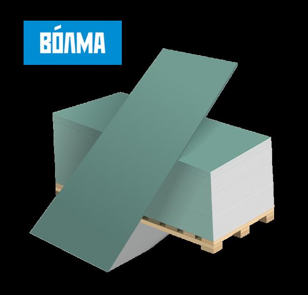 Строительная плита для сухой штукатурки стен влагостойкая 12,5 мм