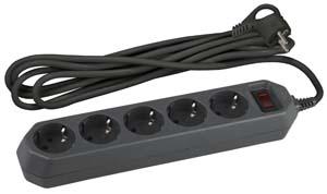 Фильтр ЭРА компьютерный черный 3м, 5 розеток